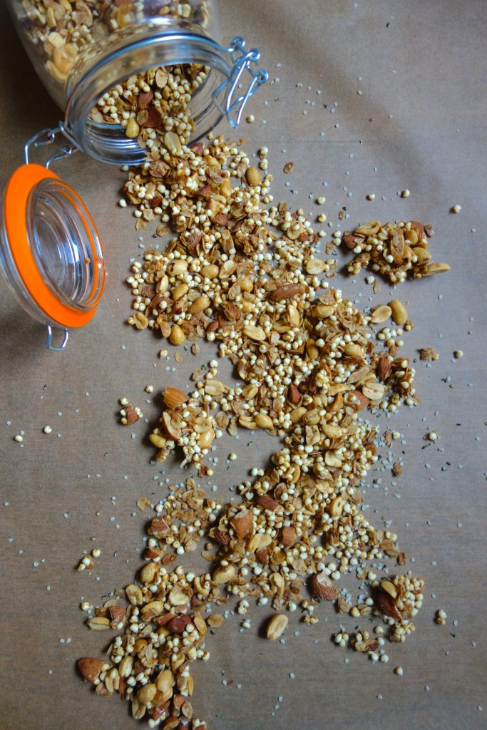 Super easy and delicious honey nut granola you can add to any breakfast item (yogurt, fruit, oatmeal, smoothies)