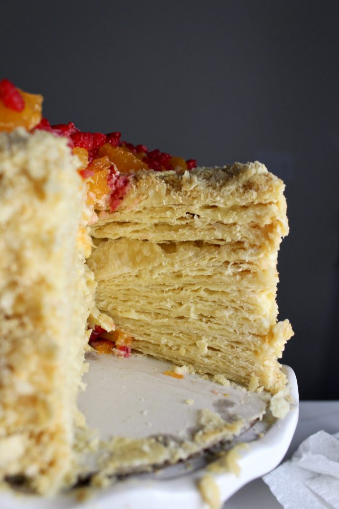 Side view of a cut-into Russian Napoleon Cake