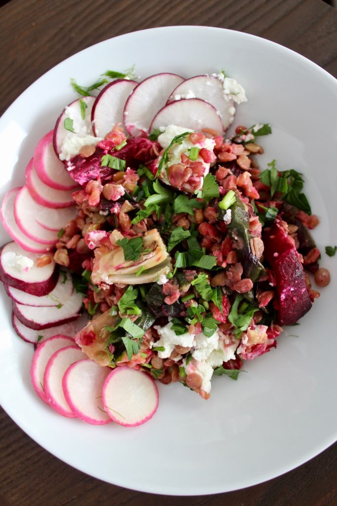 top down view of French Lentil Salad with Beets and Fennel in a small bowl