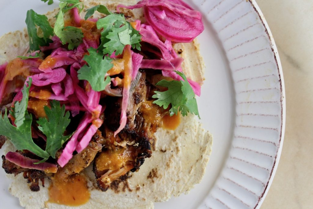 top down shot of Smoked Carnitas in Peach Chipotle Sauce with Citrus Slaw on a white plate