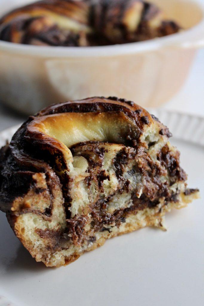 Close up of a slice of chocolate Krantz cake